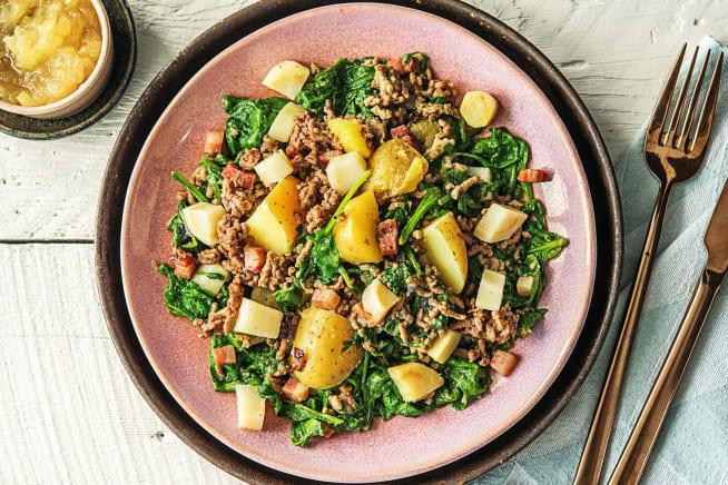 Recettes sans gluten - Mijoté aux épinards, au bœuf haché et au persil tubéreux