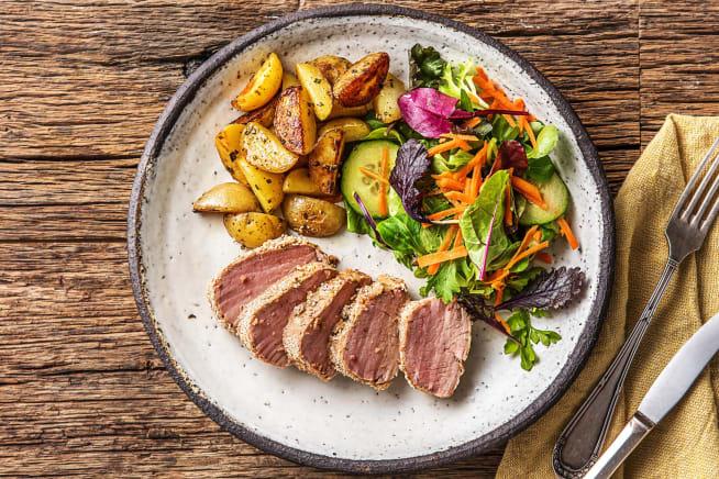 Gesunde Gerichte - Saftiges Schweinefilet mit Senfkruste