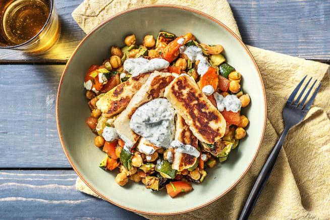 Schnelle Gerichte - Halloumi auf gebackenem Gemüse