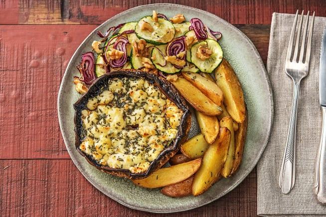 Recettes sans gluten - Portobello gratiné au fromage de chèvre et aux noix