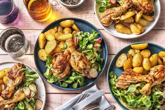 Recettes sans gluten - Pilons de poulet marinés et grenailles