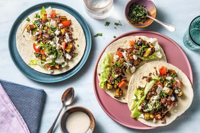 Recettes rapides - Wraps orientaux à l'aubergine et à la viande hachée