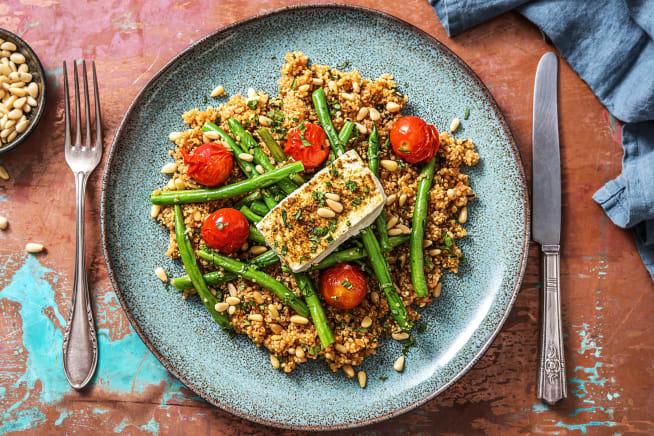 Recettes sans gluten - Quinoa épicé au feta du four
