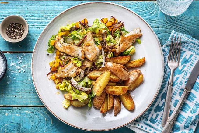 Recettes sans gluten - Aiguillettes de poulet et salade colorée