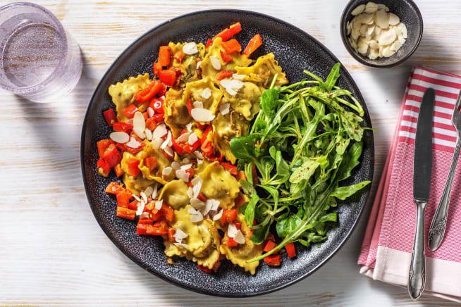 Snelle recepten - Verse ravioli met paprika en amandelen