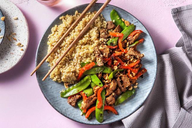 Snelle recepten - Wokschotel met vegetarische runderstuckjes