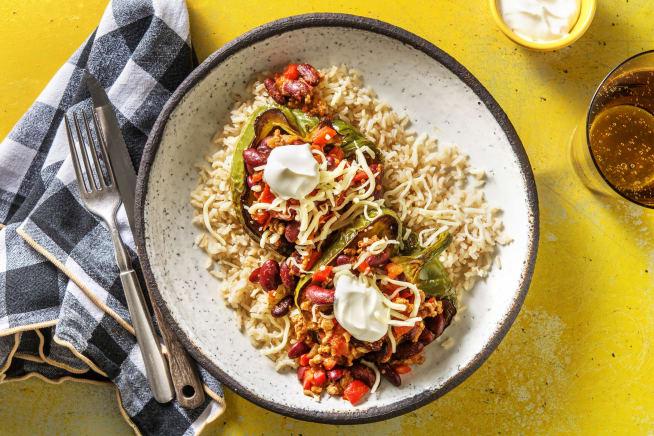 Recettes sans gluten - Poivrons farcis au chili con carne