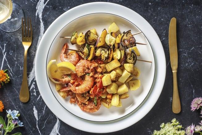 Recettes sans gluten - Crevettes à la grecque et souvlaki de légumes