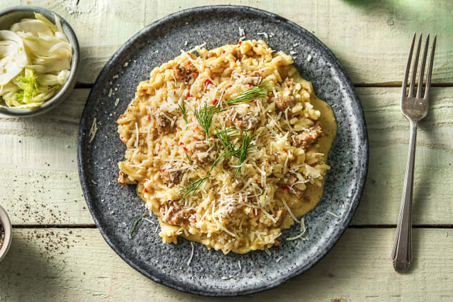 Recettes sans gluten - Risotto à la saucisse de porc épicée et au fenouil
