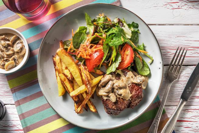 Recettes sans gluten - Rumsteak et sauce aux champignons