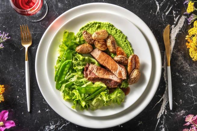 Recettes sans gluten - Paleron de veau à la crème de petits pois