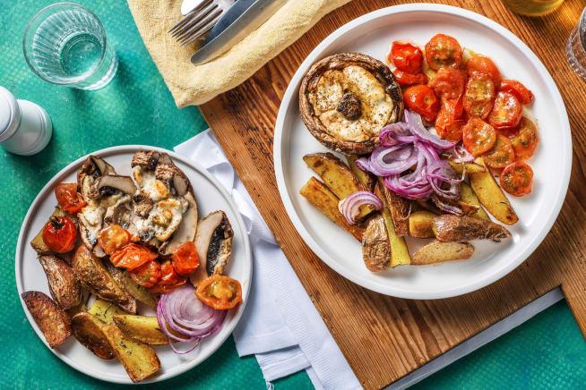 Recettes sans gluten - Portobello au chèvre et aux noix