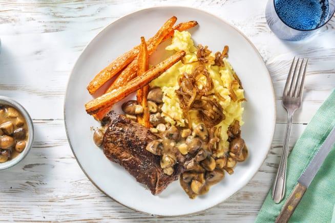 Gesunde Gerichte - Rinderhüftsteak mit Champignon-Senf-Soße