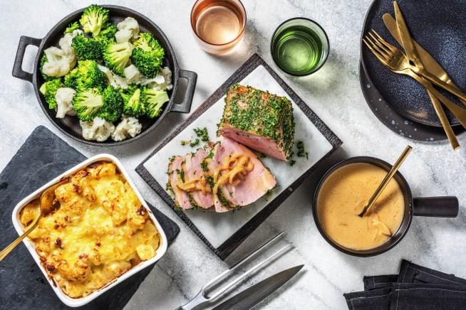 Thermomix Rezepte - Schweinebraten mit Kartoffel-Speck-Auflauf