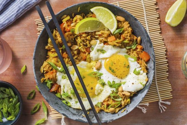 Recettes rapides - Nasi Goreng et œuf au plat