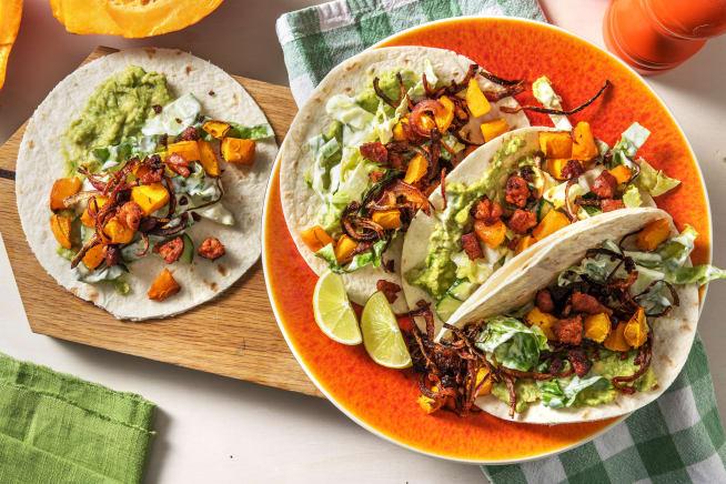 Schnelle Gerichte - Tacos mit Kürbis-Ofengemüse und Chorizo