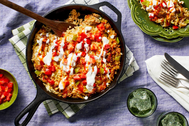 Family Friendly - Southwest Chicken Sausage & Rice Skillet