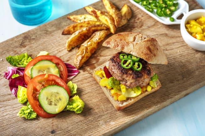 Snelle gerechten - Burger met pittige groene peper en piccalilly