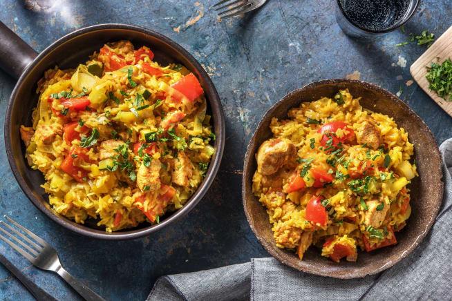 Snelle gerechten - Snelle rijstschotel met kip en groenten