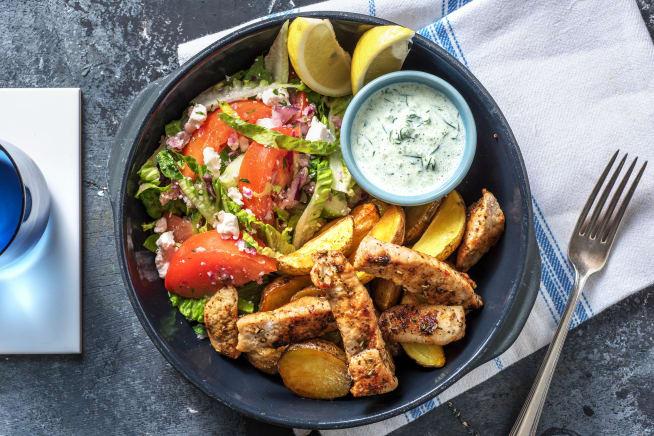 Gyros mit griechischem Salat