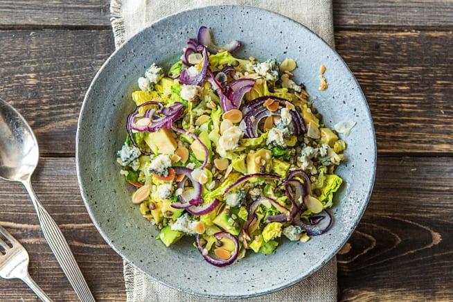 Salade de boulgour et de lentilles au bleu