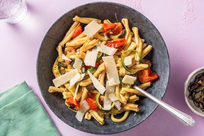 Snelle recepten - Casarecce met pesto en courgettelinten