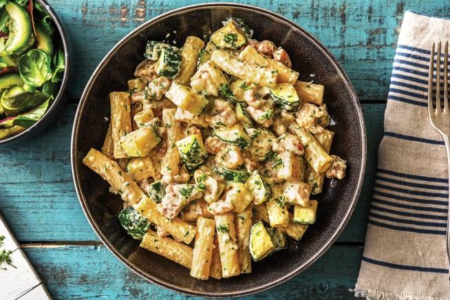 Creamy Chicken & Charred Zucchini Tarragon Rigatoni
