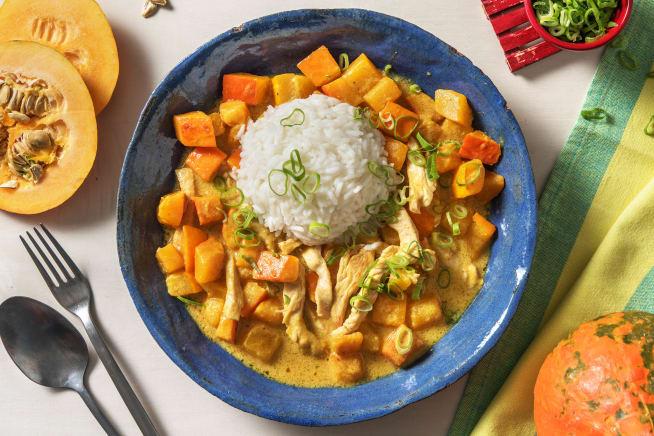 Cremig mildes Kürbis-Kokos-Curry