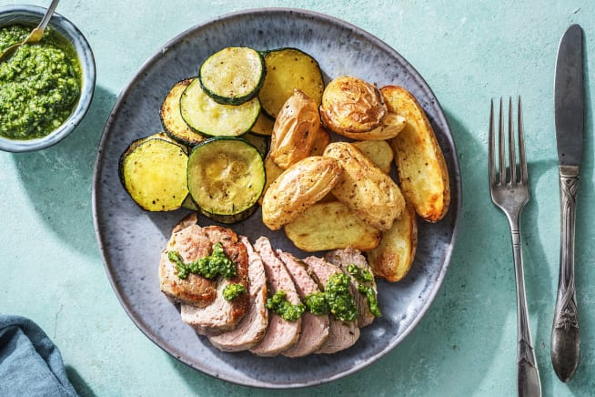 Gesunde Gerichte - Deftiges Schweinefilet mit Pesto
