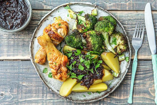 Pilons de poulet, pommes de terre et brocoli