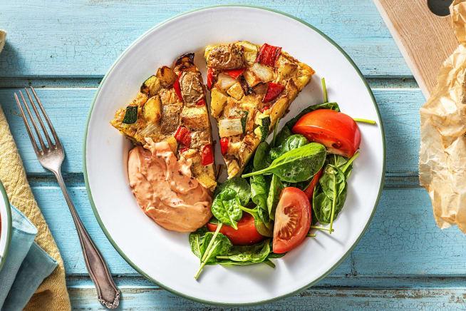 Kartoffel-Tortilla mit buntem Gemüse