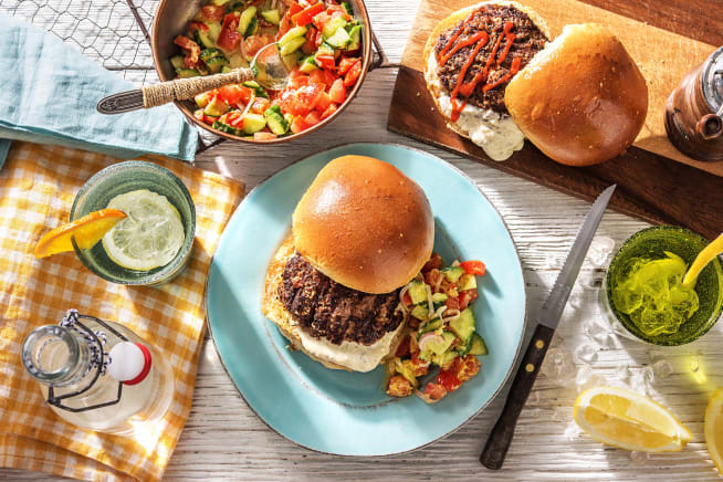 Greek Diner Burgers on the Grill