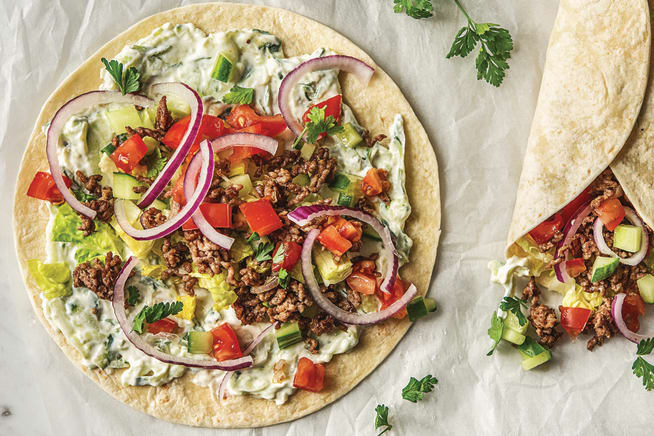 Speedy Greek Style Beef Wraps