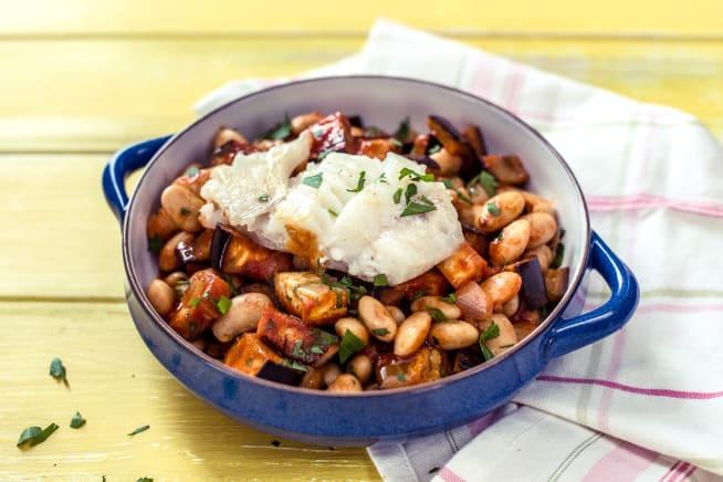 Haddock with Mediterranean Aubergine and Butterbean Stew