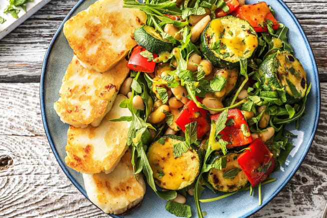 Vegetarian Recipes - Halloumi with Charred Vegetables