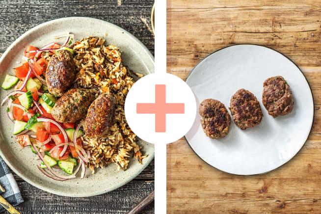 Türkische Köfte mit Salat, Joghurt-Dip
