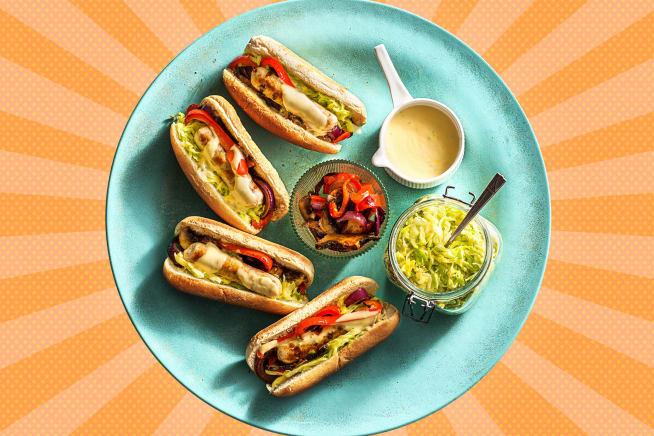 Vegetarische Mühlen Bratwurst in Hot Dogs