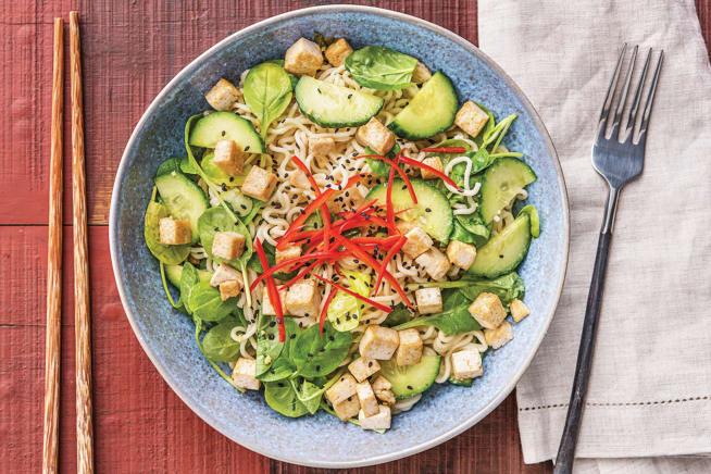 Speedy Japanese Tofu & Ramen Noodle Salad Bowl