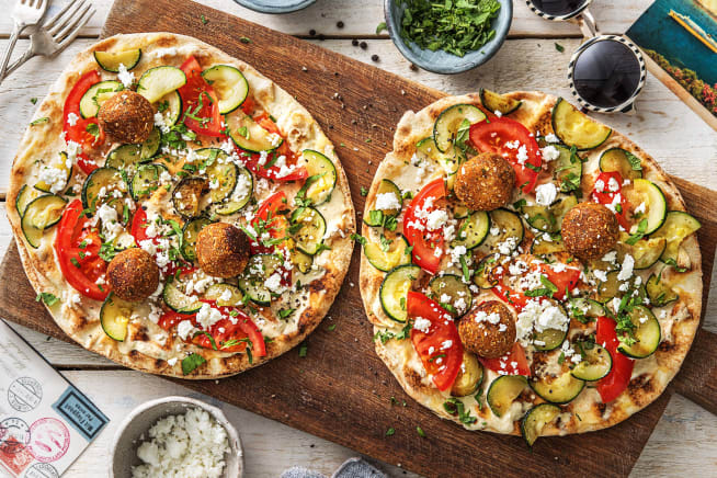 Knapperig platbrood met falafel & feta
