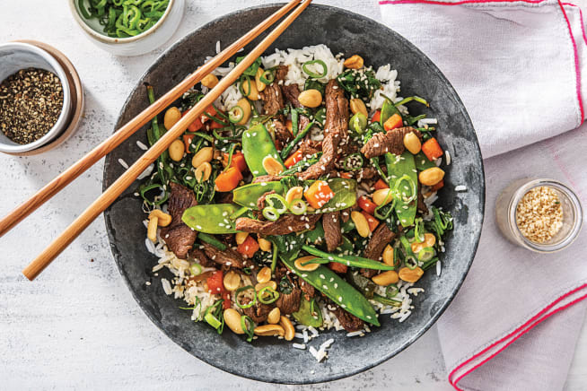 Korean Beef & Rainbow Veggie Rice Bowl