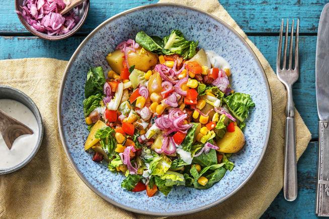 Quick & easy - Krieltjessalade met mais en spekjes