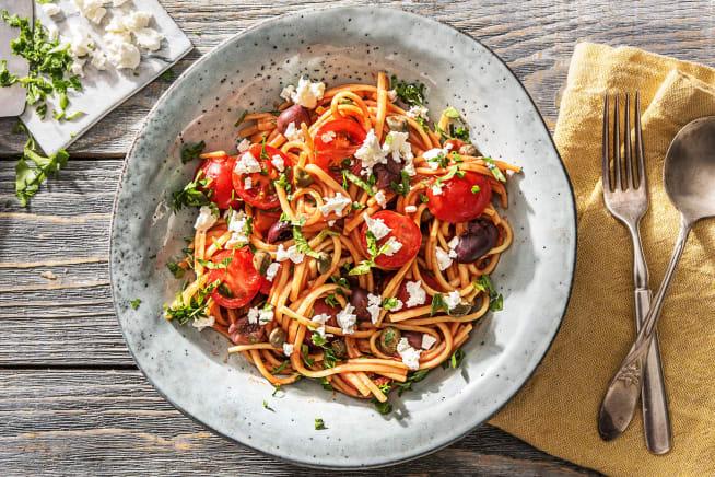 Calorie-focus - Linguine met cherrytomaten, kappertjes en olijven