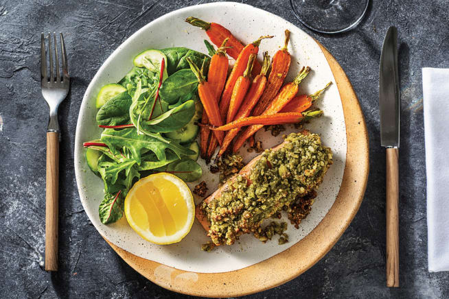 Pesto and Macadamia Crusted Ocean Trout