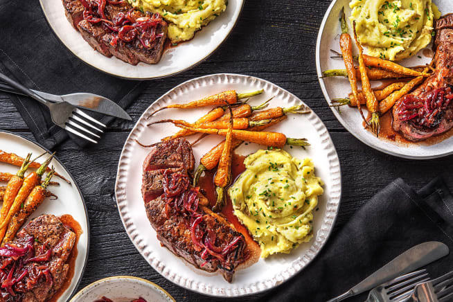 Family Friendly - New York Strip Steaks in a Cherry Sauce