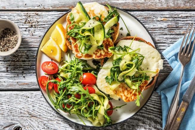 Open-Faced Fried Halloumi Sandwich