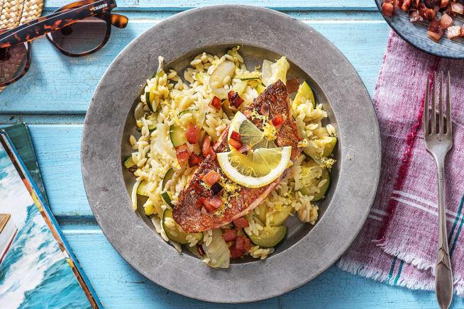 Orzo-risotto met roodbaarsfilet