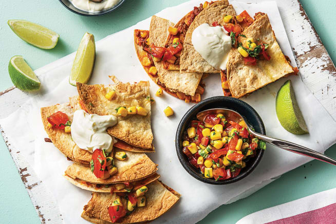 Cheesy Beef Cheat's Quesadillas