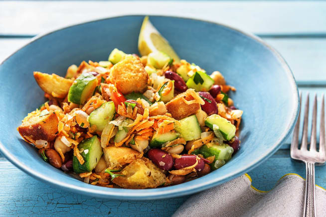 Vegetarian Recipes - Mixed Bean and Veggie Panzanella Salad