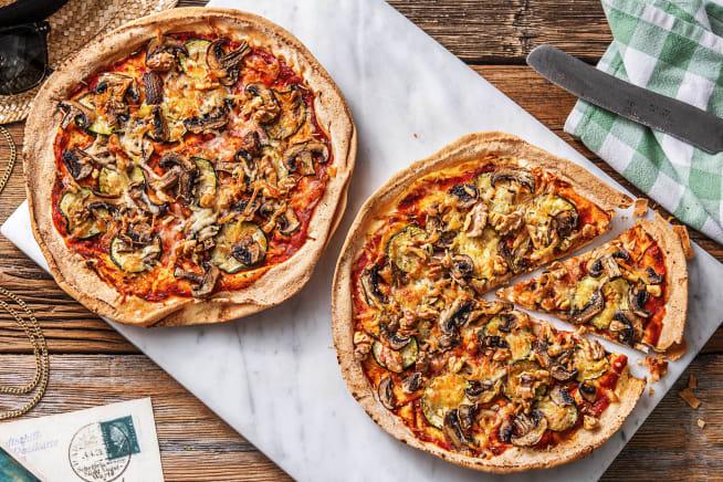 Platbroodpizza met gegrilde courgette
