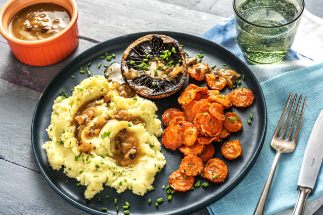 Quick Dinner Ideas - Oven-Baked Portobellos and Chive Mashed Potatoes
